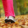 Runner legs running shoes. Woman jogging in autumn park — Foto Stock