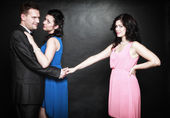 Marital infidelity concept. Love triangle passion hate — Stock Photo