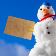 Little happy christmas snowman red heart paper card outdoor. Winter. — Stock Photo #37082937