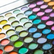 Palette professional colorful eye shadows. Makeup set background. — Stock Photo #37258377