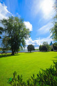 Park by historical Kalmar castle in Sweden Scandinavia Europe — Stock Photo