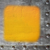 Yellow painted concrete wall blank metal frame border background — Stock Photo