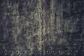 Closeup grunge old black metal plate as background texture — Stock Photo