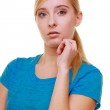 Blond thoughtful pensive girl female student — Stock Photo
