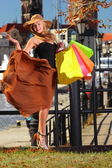 Stylish shopper woman in old town Gdansk — Stock Photo