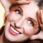 Autumn woman stylish creative make up false eye lashes — Stock Photo #37805047
