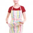 Young housewife with oven cooking mitten kitchen apron isolated — Stock Photo #38123611