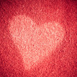 Stockfoto: Valentine's day card. Heart love symbol on red leather background