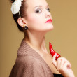 Beautiful womfashion girl retro style with chilli pepper — Stock Photo #39215787