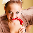 Woman fashion girl retro style with chilli pepper. Flirtatious coquette — Photo