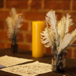 Feather quill pens candle and old paper on wooden desk. Vintage. — Foto de Stock