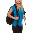 Portrait casual blond smiling girl female student with bag backpack isolated — Stock Photo