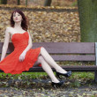 Stock Photo: Girl in elegant red dress sitting on bench in autumnal park