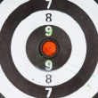 Stock Photo: Closeup of old dirty black and white target as sport background