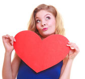 Red heart. Love symbol. Woman hold Valentine day symbol. — Stock Photo