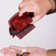 Broke businessman with empty wallet and polish coins — Stock Photo