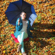 Young girl relaxing with umbrella in autumnal park — Stock Photo #39349911