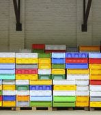 Colorful boxes plastic crates containers for fish — Stock Photo