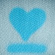 Valentine's day background. Heart shape design on blue canvas — Stock Photo