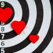 Stock Photo: Closeup black white target with hearts bullseye as love background