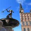 Neptune Fountain and city hall in Gdansk, Poland — Stock Photo #39409125