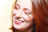 Autumn woman stylish creative make up false eye lashes — Stock Photo