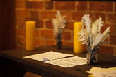 Feather quill pens candle and old paper on wooden desk. Vintage. — Photo