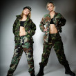 Two women in military clothes, army girls — Stock Photo #39659317