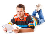 Male student reading a book preparing for exam isolated — Foto de Stock