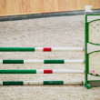 Green red white obstacle for jumping horses. Riding competition. — Stock Photo #39731253
