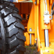 Detail big wheel of the heavy building dozer — Stock Photo