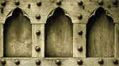Architecture. Closeup of wooden door with rivets as background — Stock Photo