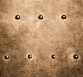 Grunge gold brown metal plate rivets screws background texture — Stock Photo