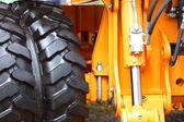 Detail big wheel of the heavy building dozer — Stock Photo