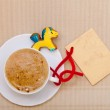 White cup coffee gingerbread cake pony blank card. Christmas. — Stock Photo