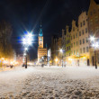 City hall old town Gdansk Poland Europe. Winter night scenery. — Stock Photo