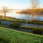 Beautiful autumn morning fog at the river Co.Cork, Ireland. — Stock Photo