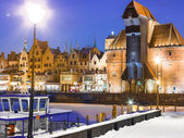 Moltawa river and the crane Gdansk Poland. Winter night scenery — 图库照片