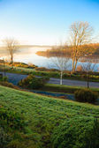 Beautiful autumn morning fog at the river Co.Cork, Ireland. — Stock Photo
