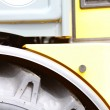 Stock Photo: Detail big wheel of heavy building dozer