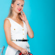 Sexy girl retro style ironing male shirt, woman housewife in domestic role. — Stock Photo #40182625