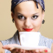 Hot beverage. Woman holding tea or coffee cup — Stock Photo
