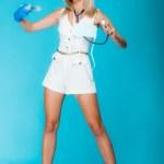 Funny sexy girl doctor nurse with syringe stethoscope. Healthcare — Stock Photo