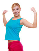Sport woman fitness girl showing her muscles. Power and energy. Isolated. — ストック写真