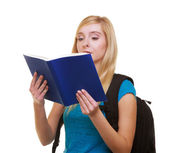 Casual girl female student with bag backpack reading book learn isolated — Stock Photo