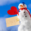 Little happy christmas snowman red heart paper card outdoor. Winter. — Stock Photo #40565209