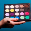 Palette of professional colorful eye shadows. Cosmetology product. — Stock Photo