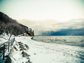 Baltic sea Gdynia, cliff in Orlowo Poland. Winter scenery — Stock Photo
