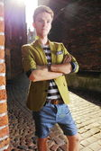Young handsome man on street, old town Gdansk — Stock fotografie