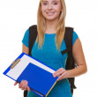 Casual girl female student with bag backpack notebook book isolated — Stock Photo #40877123